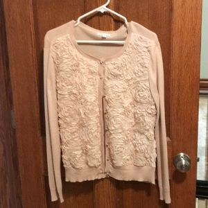Cream mixed material cardigan